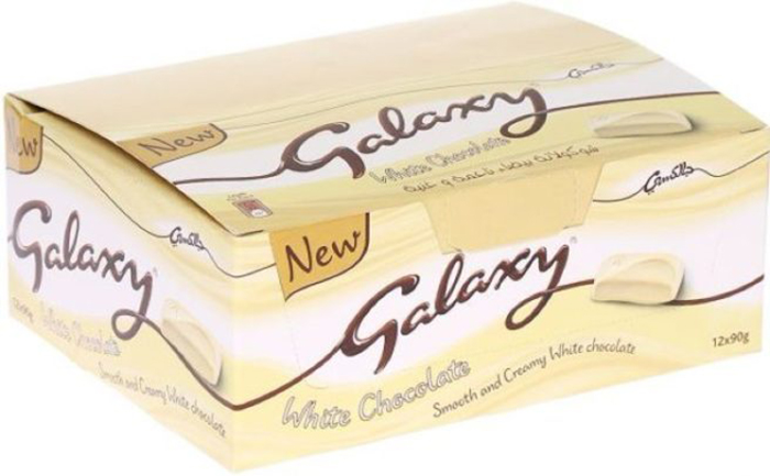 box of galaxy white chocolate bars