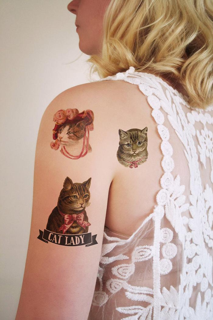 cat lady temporary tattoos