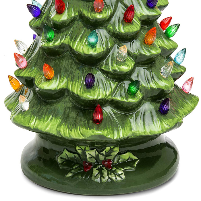 ceramic christmas tree colorful light bulbs