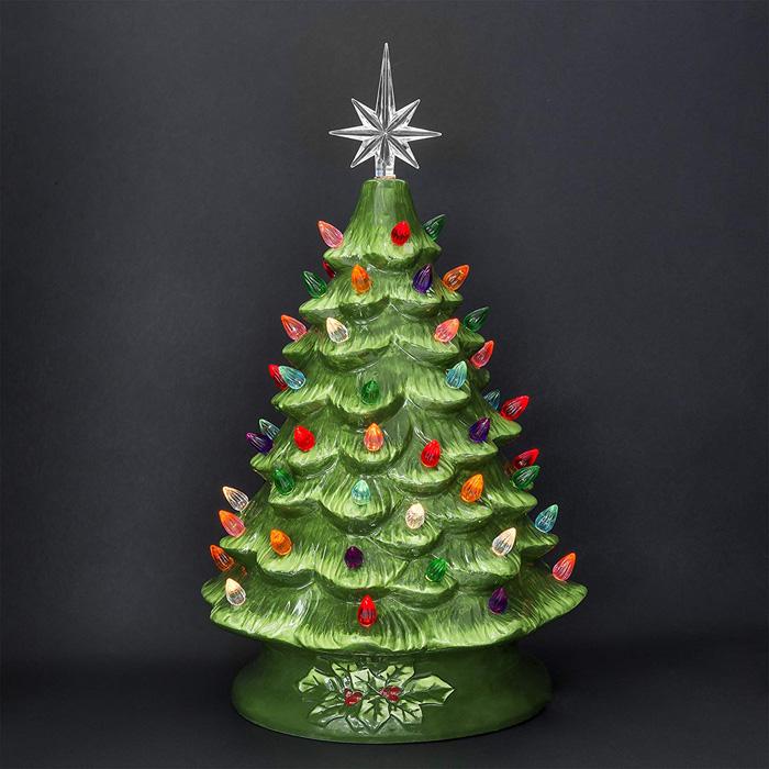 ceramic christmas tree multicolored light bulbs