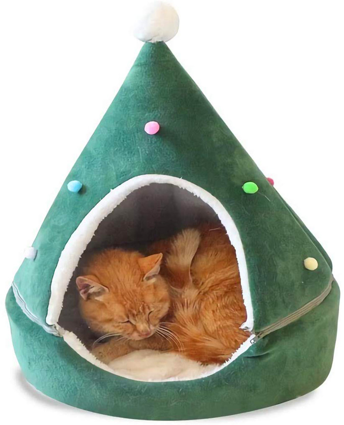 christmas tree cat beds green pom-pom topper