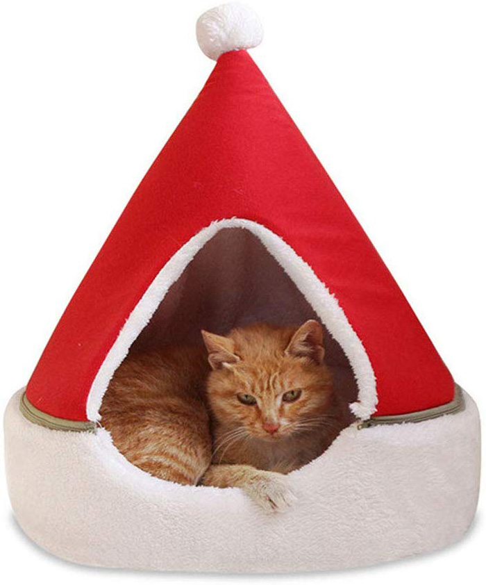 christmas tree cat beds red santa hat