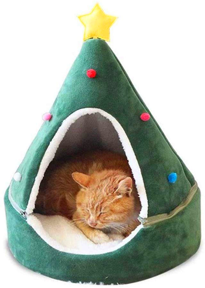 christmas tree cat beds