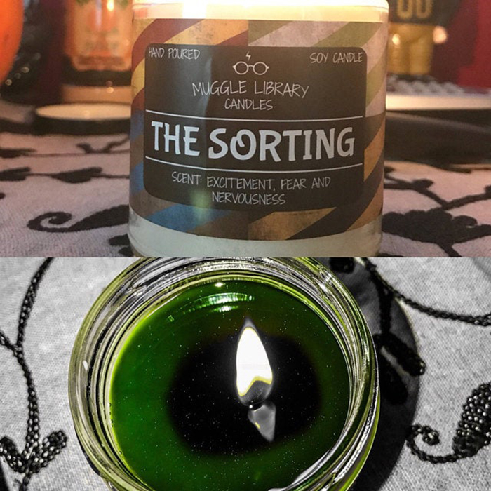 color-changing sorting candle green