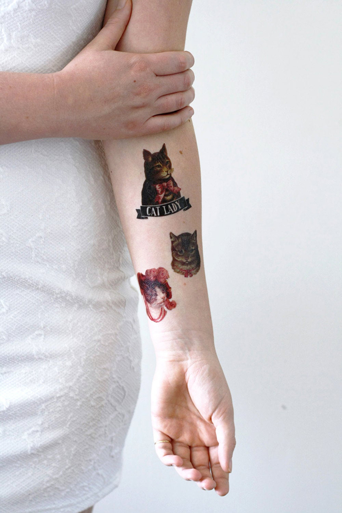 decal-style cat-inspired tattoos