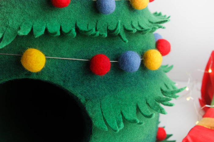 decorative christmas tree cat beds with colorful garland
