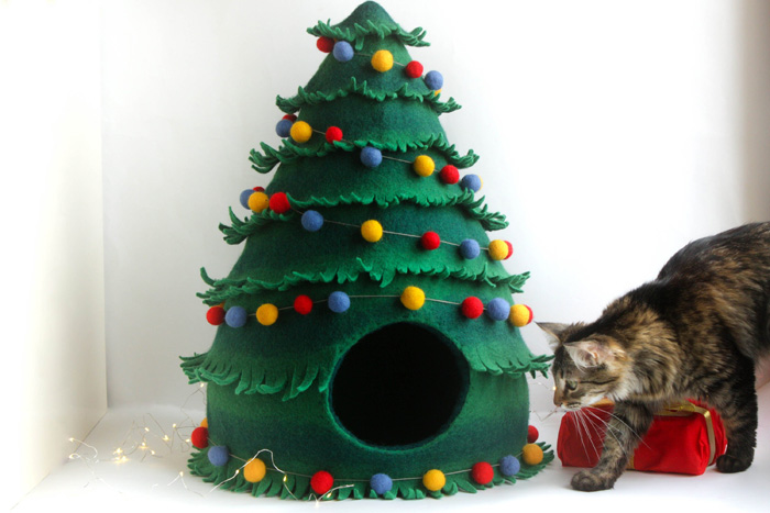 decorative christmas tree cat beds