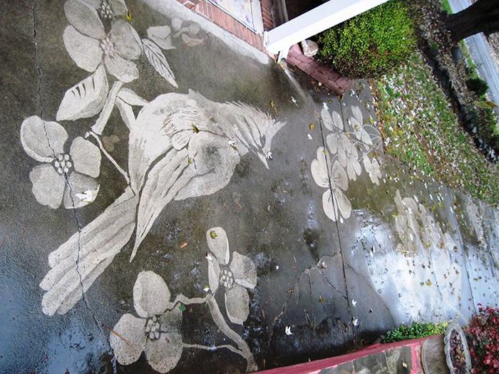 dianna wood neighbor driveway artwork cardinal