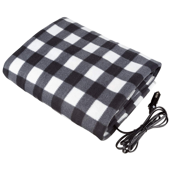 electric heated driving blanket black white plaid