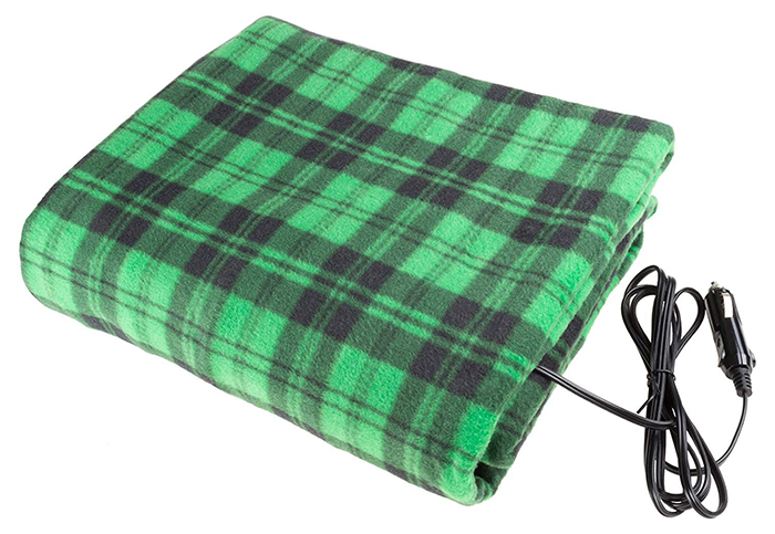 electric heated driving blanket green black plaid