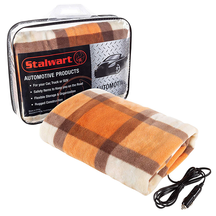 electric heated driving blanket orange brown plaid
