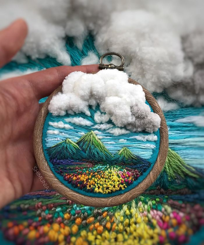 embroidery artist shimunia cotton clouds