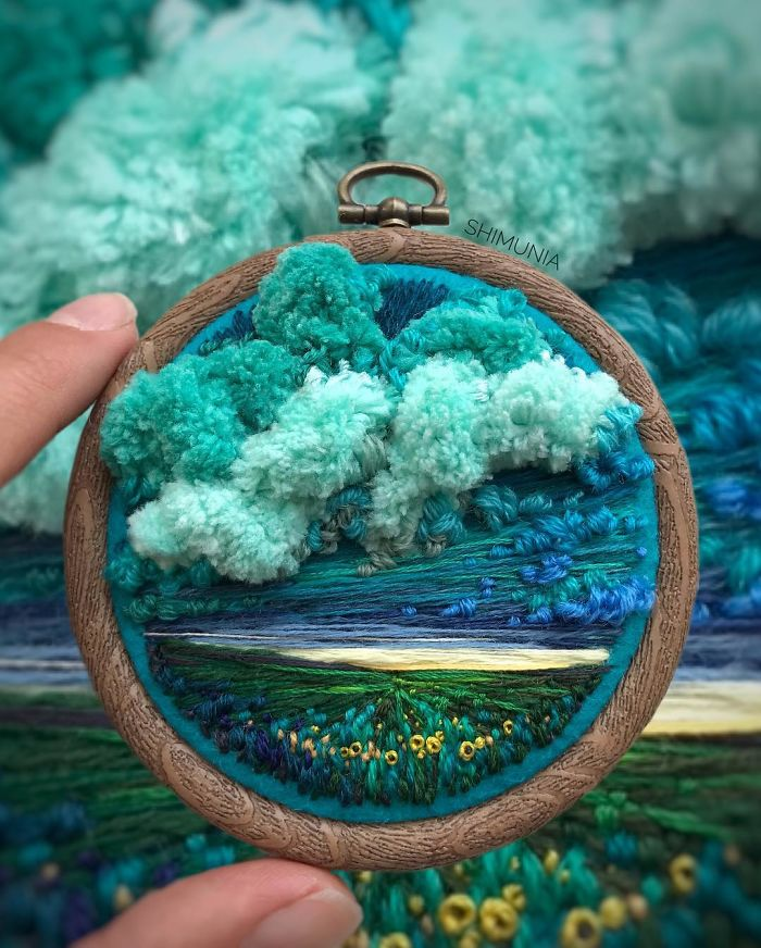 shimunia embroidery painting blue clouds