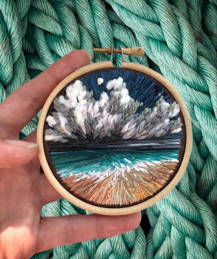 embroidery painting blue sea