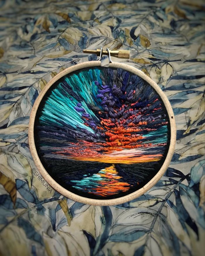 embroidery painting blue streaks sky
