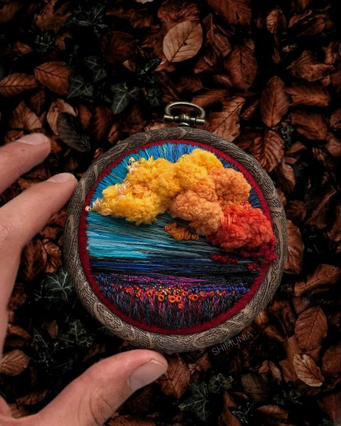 shimunia embroidery painting colorful clouds over flower field