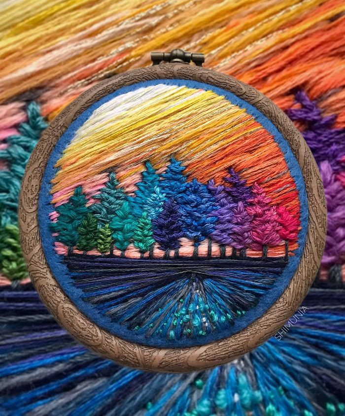 embroidery painting colorful trees