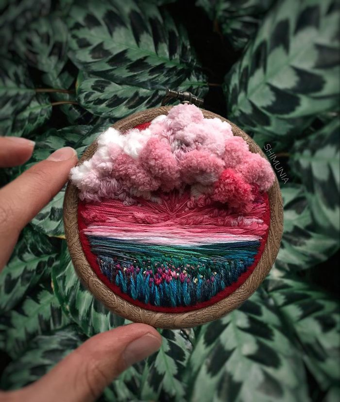 embroidery painting cotton candy clouds