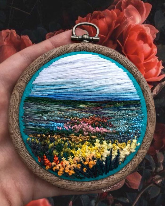 embroidery painting flowers