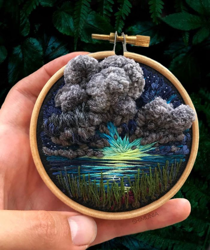 embroidery painting fluffy dark clouds