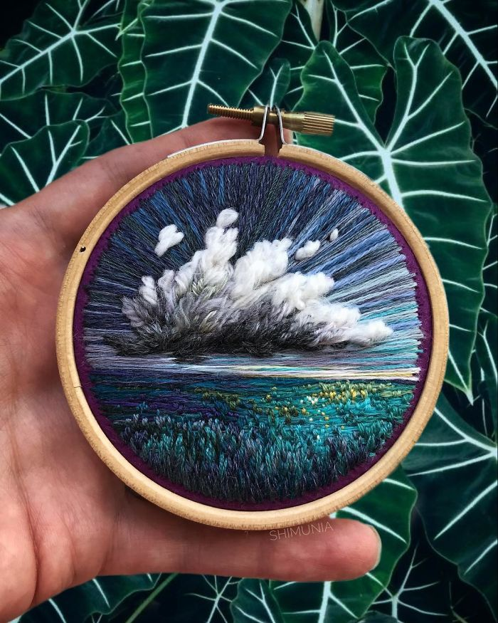 embroidery painting green field