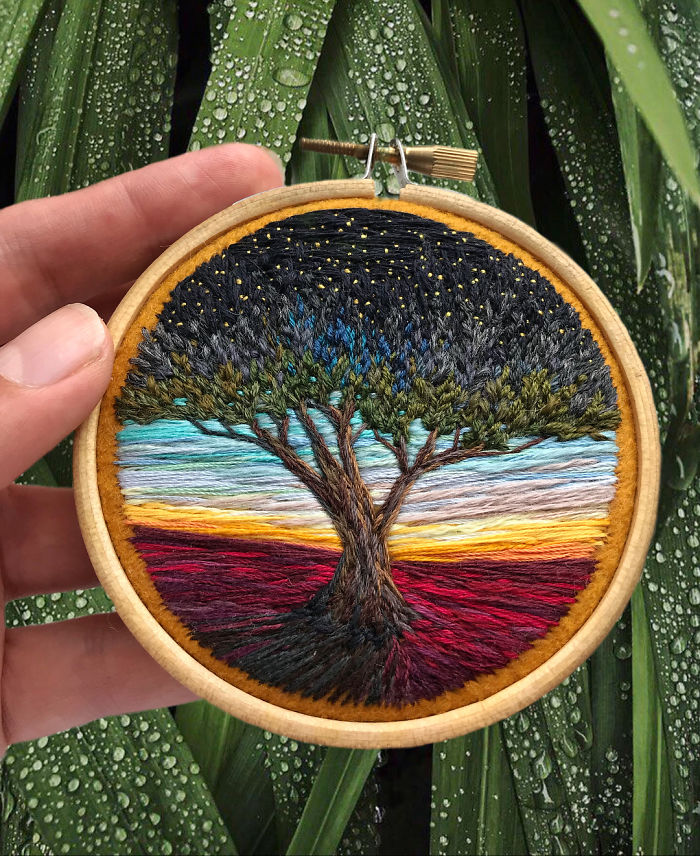 shimunia embroidery painting huge tree