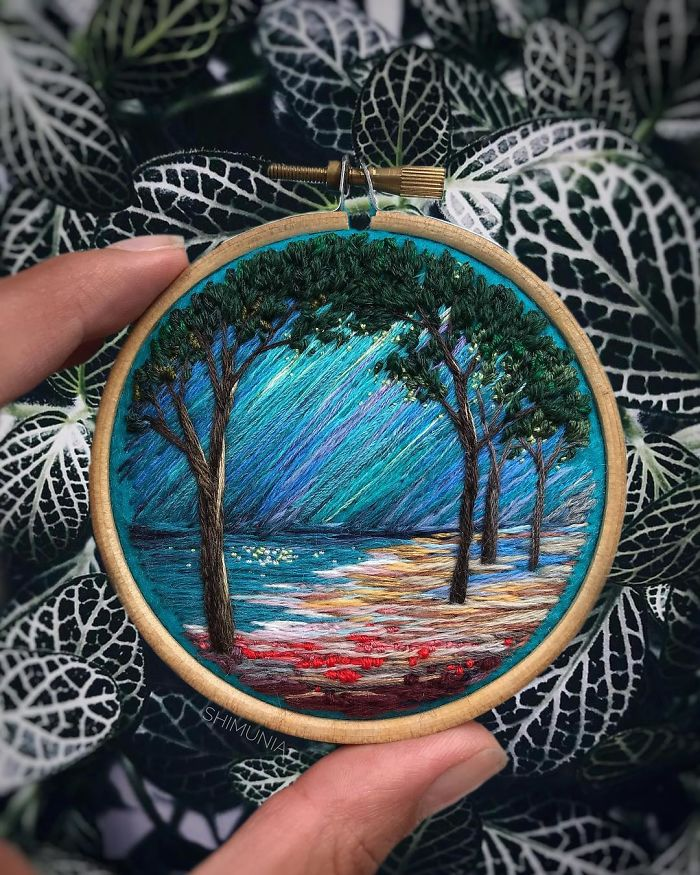 shimunia embroidery painting lake
