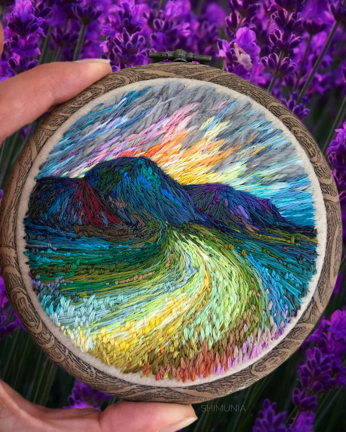 embroidery painting mountains