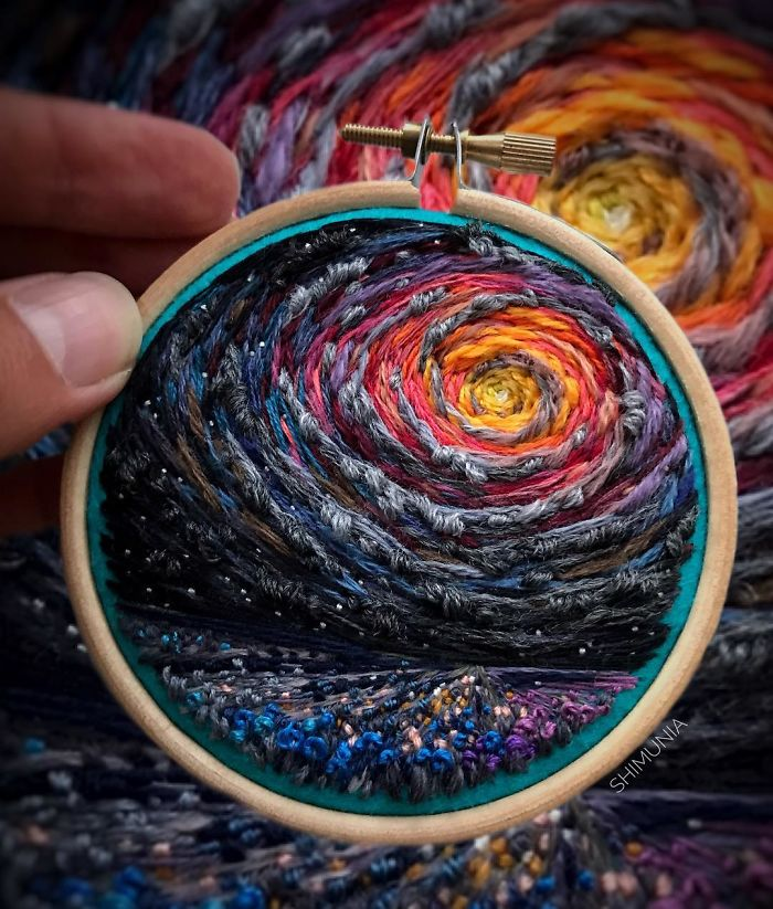shimunia embroidery painting night sky