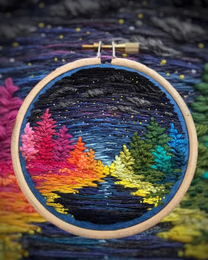 shimunia embroidery painting night time
