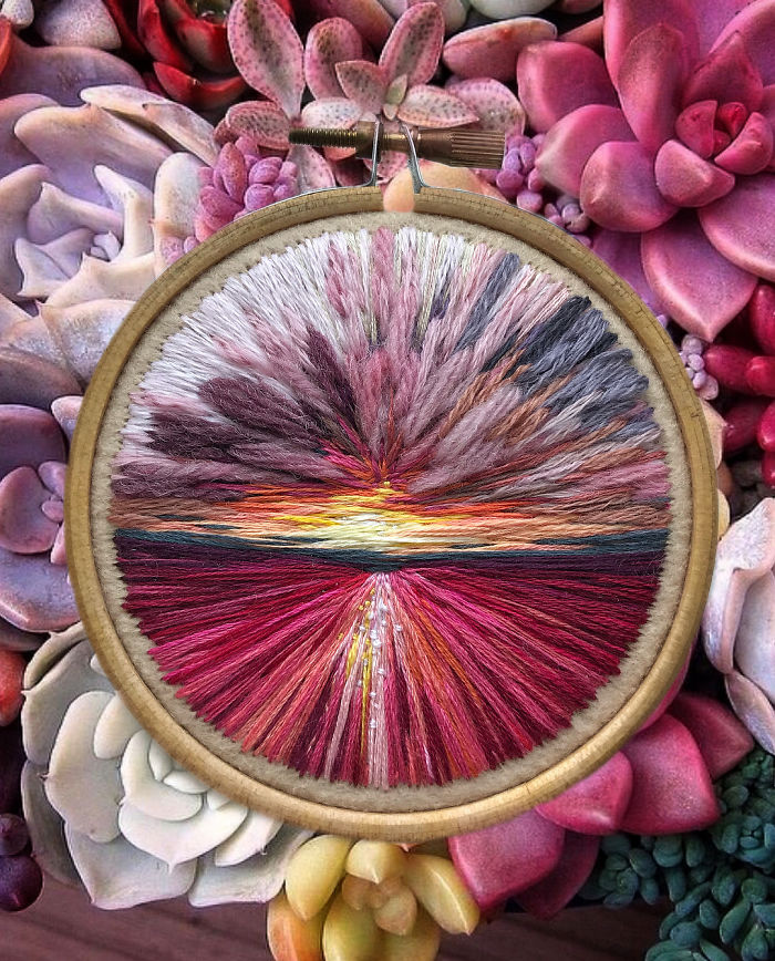 embroidery painting pink-colored field