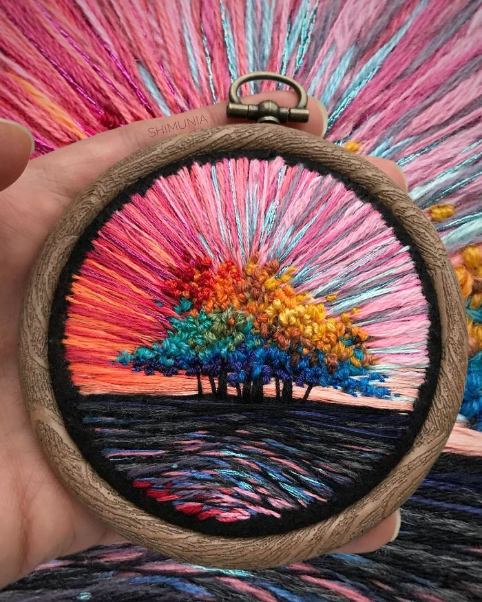 embroidery painting pink sky