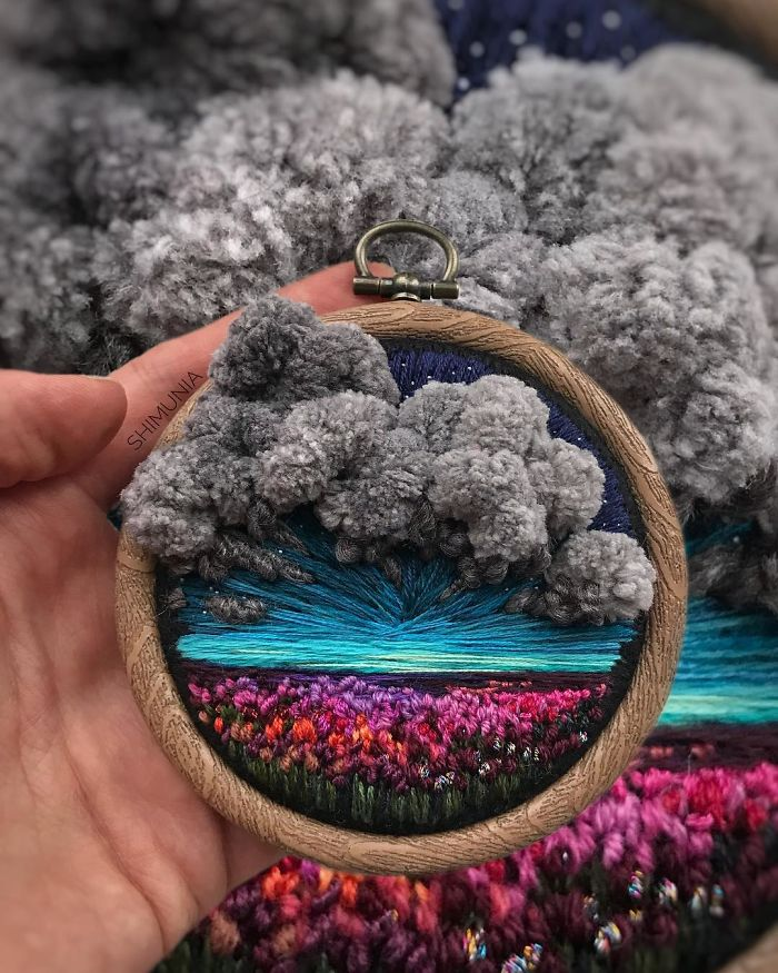 shimunia embroidery painting purple flower field dark clouds