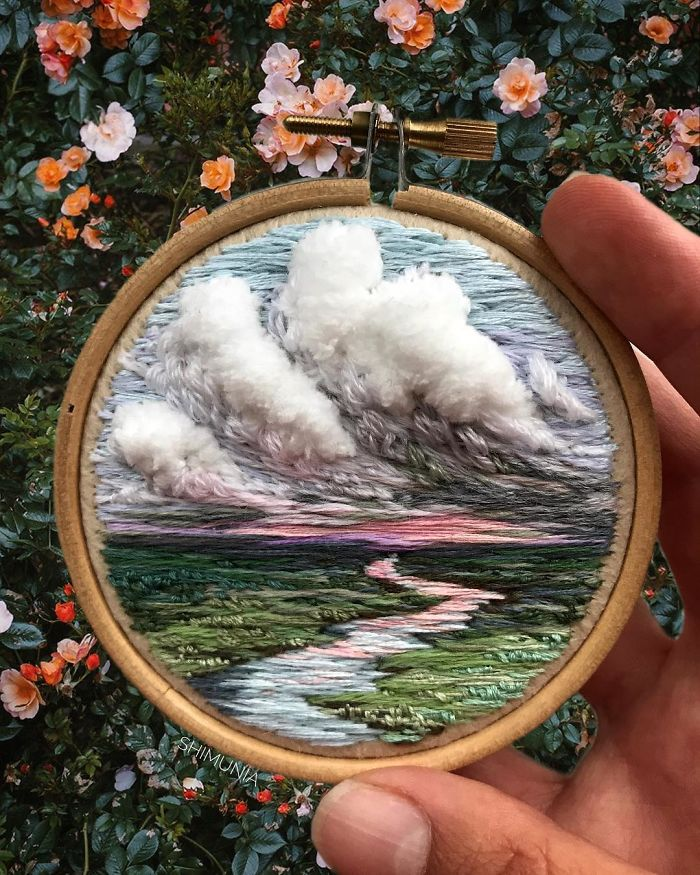 shimunia embroidery painting river clouds