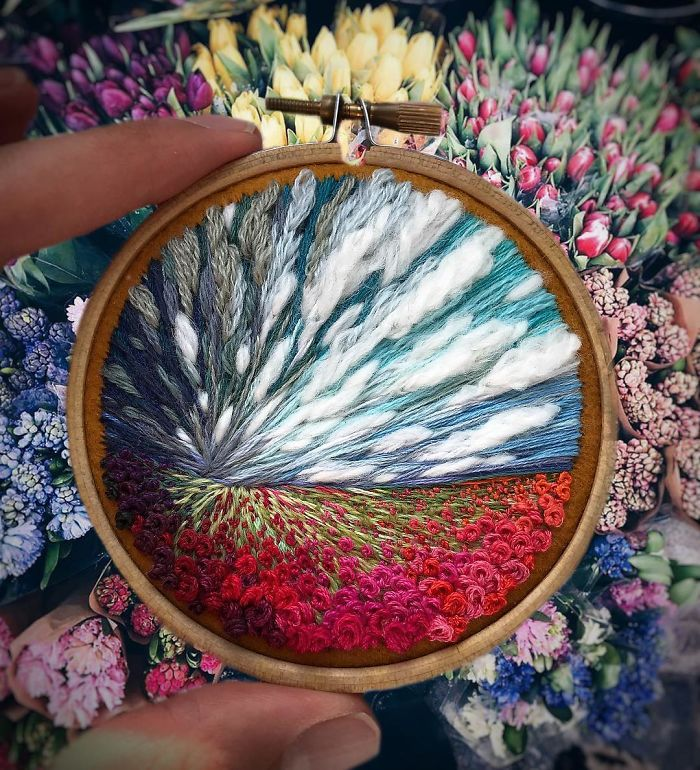 shimunia embroidery painting rose field