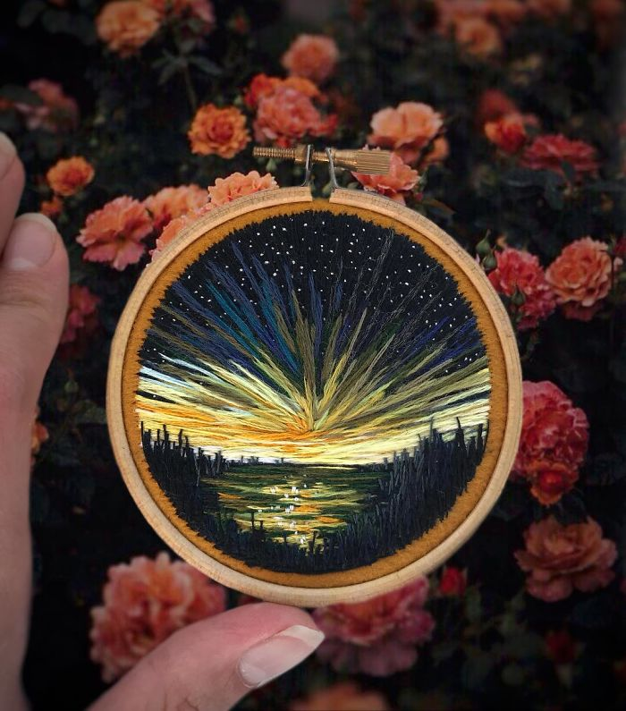 shimunia embroidery painting sunrise