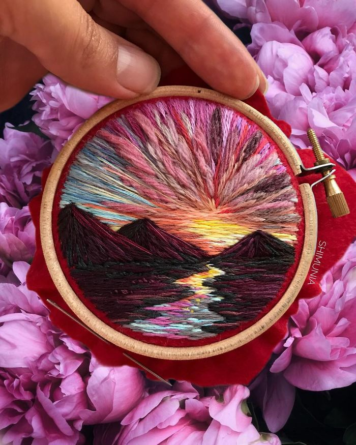 shimunia embroidery painting sunset mountains