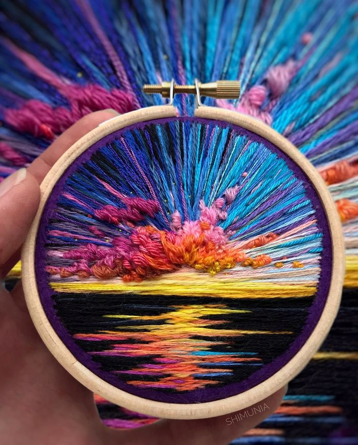 shimunia embroidery painting sunset