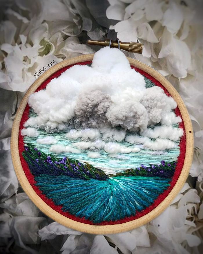 shimunia embroidery painting white clouds