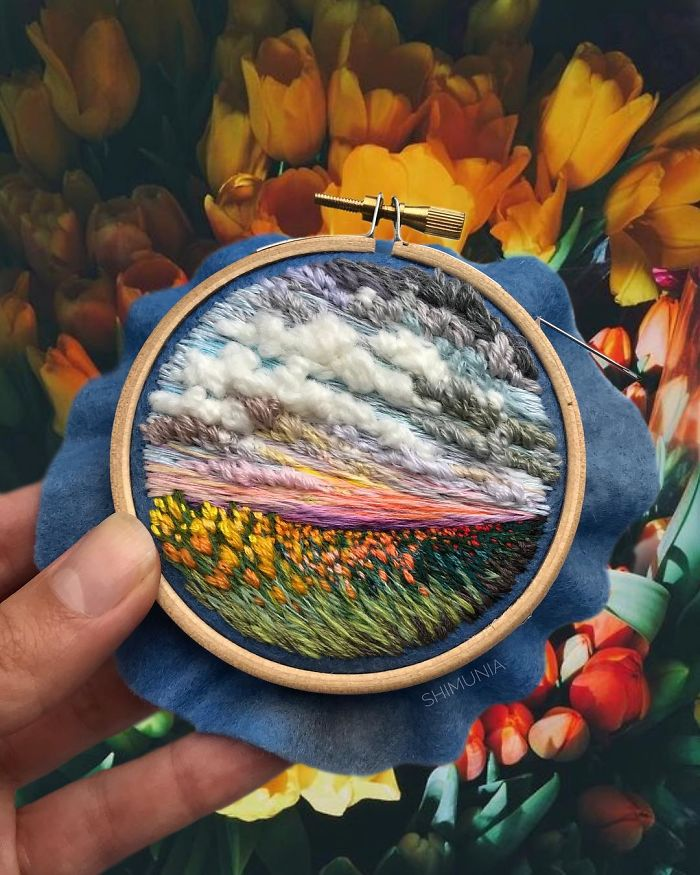 shimunia embroidery painting yellow tulips