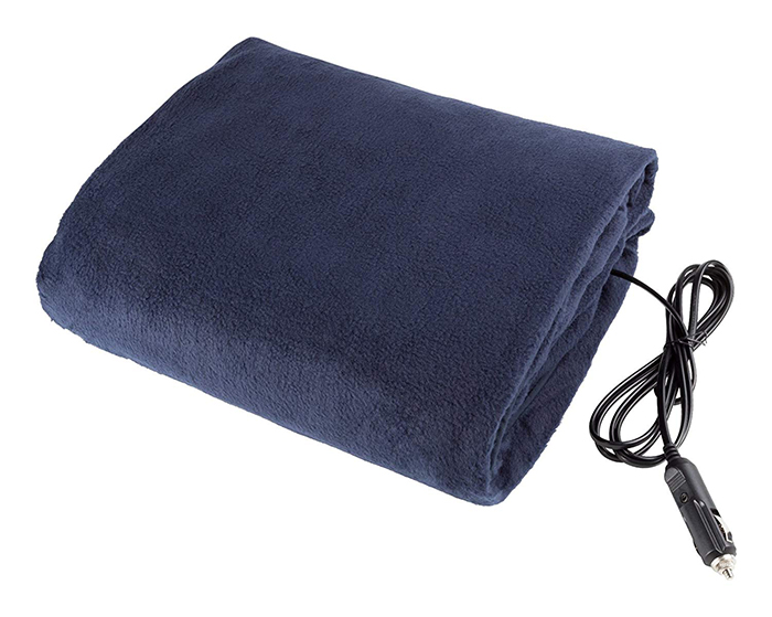 fleece travel throw solid color blue