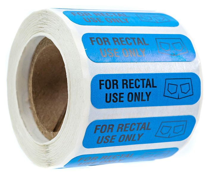 for rectal use only stickers blue