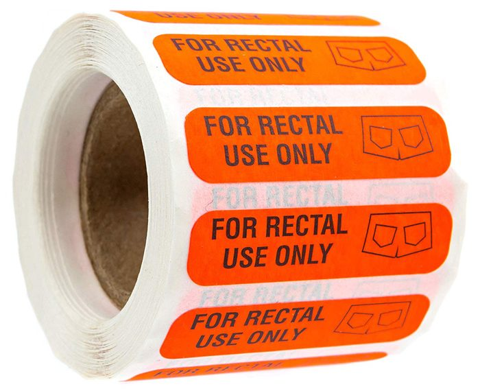for rectal use only stickers red