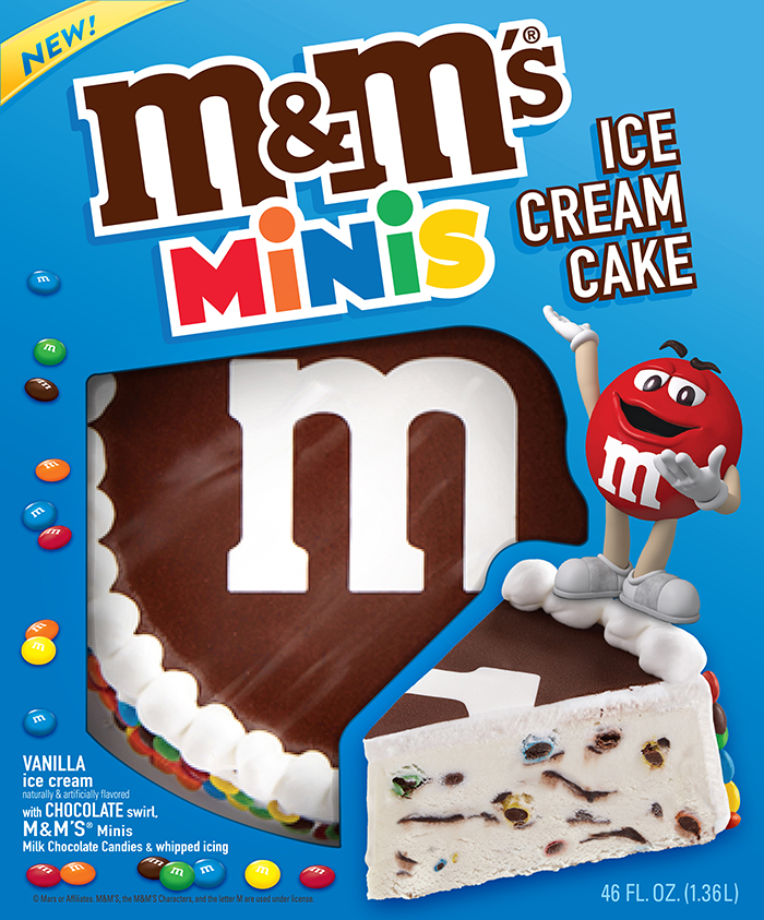 front view M&M's ice cream cake packaging