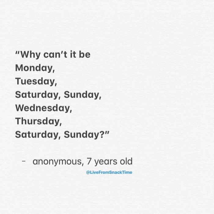 funny things kids say days of the week