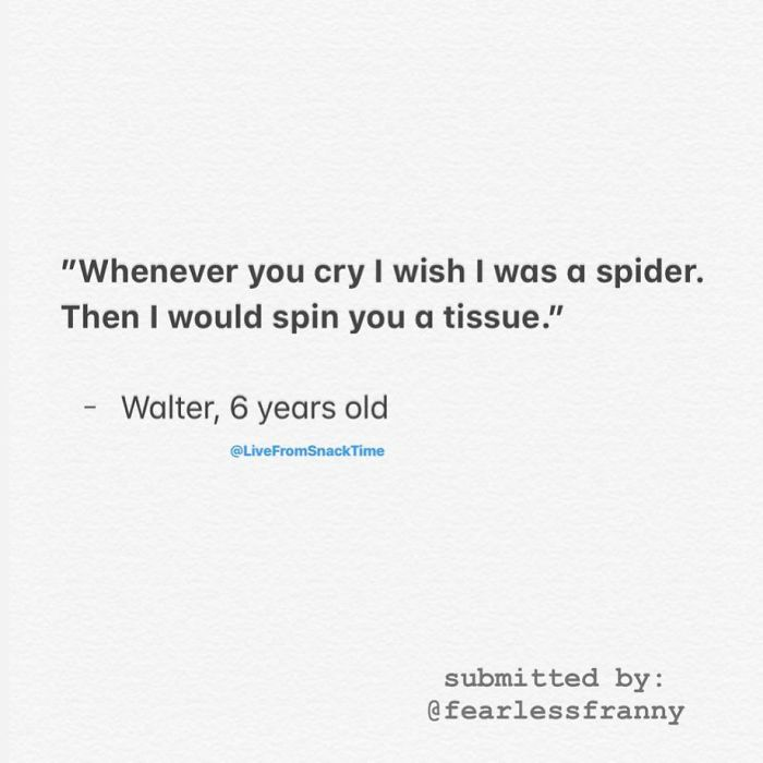 funny things kids say spider tissue