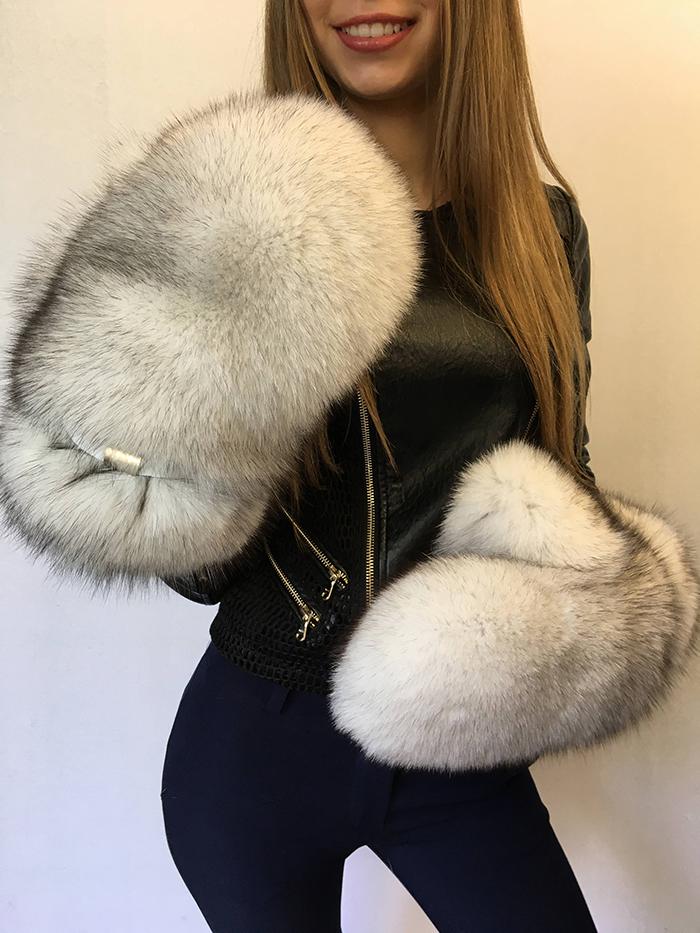 giant fur mittens blue fox