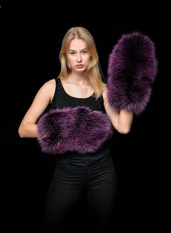 giant fur mittens purple fox