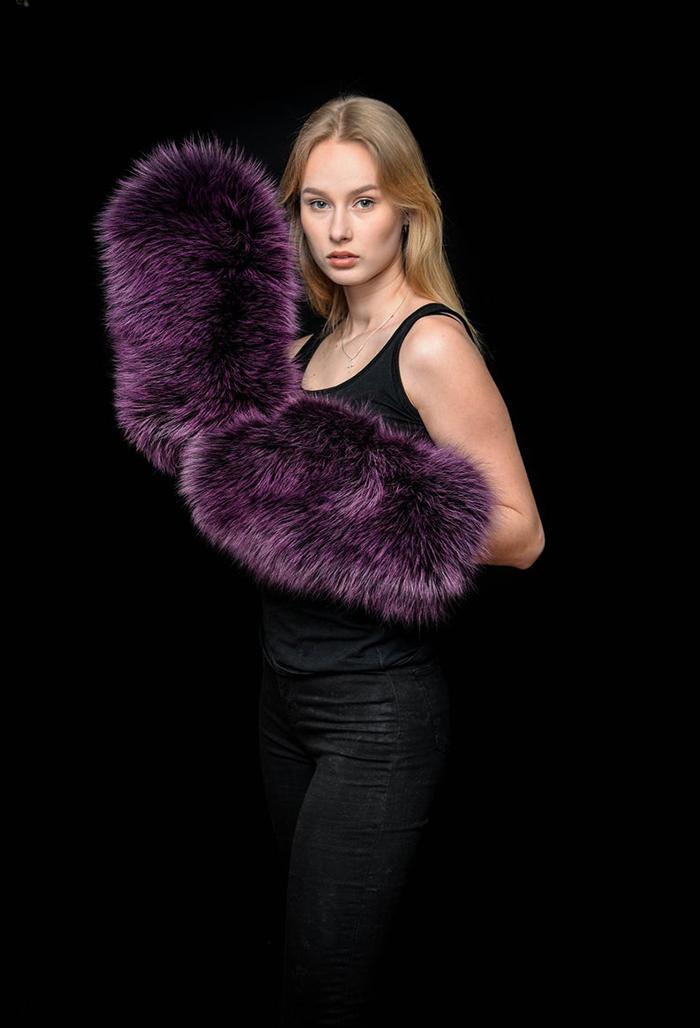 giant fur mittens purple