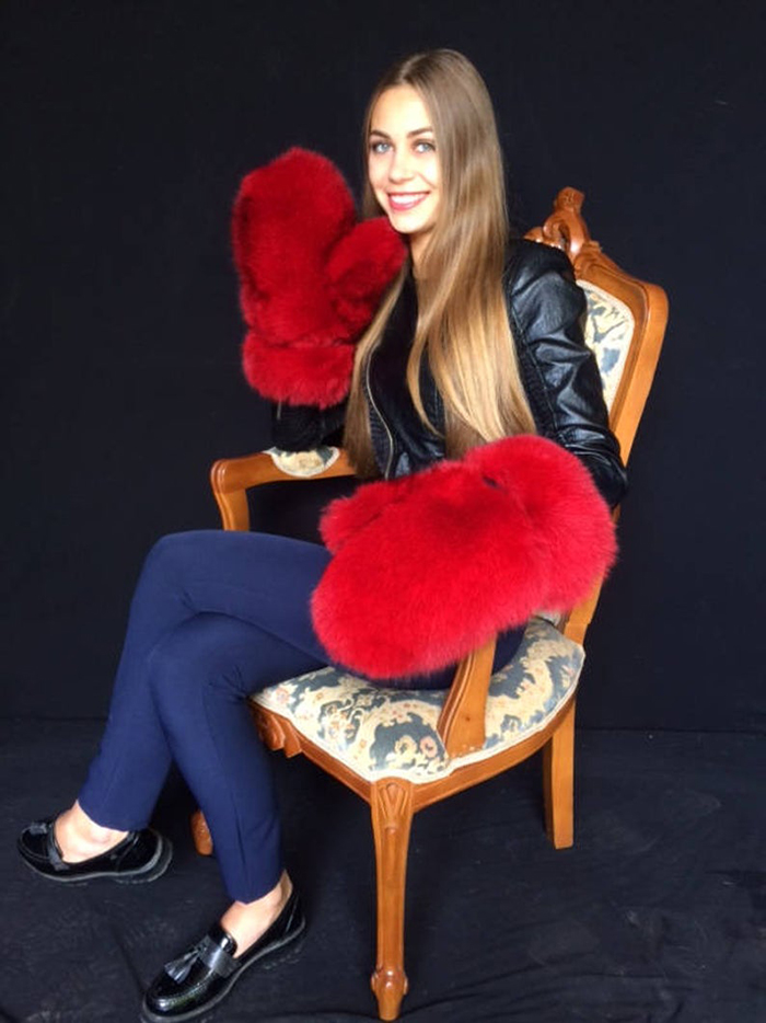 giant fur mittens red color